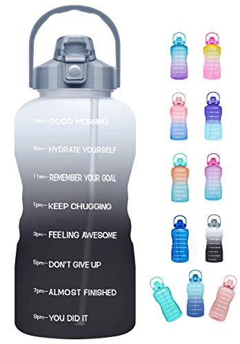 Venture Pal Large Half Gallon/64oz Motivational Water Bottle with Time Marker & Straw,Leakproof Tritan BPA Free Water Jug,Ensure You Drink Enough Water Daily for Fitness,Gym,Sports-Ombre Gray Black