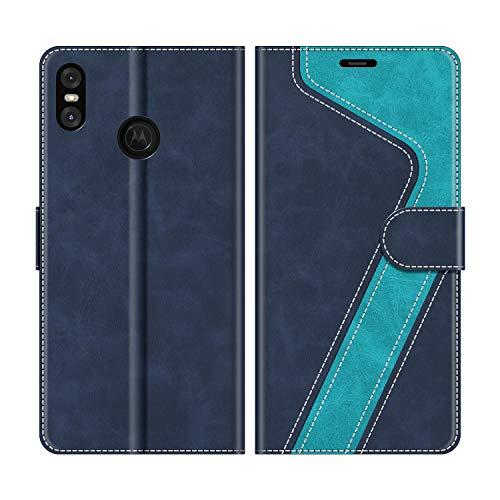 MOBESV Handyhülle für Motorola One Hülle Leder, Motorola One Klapphülle Handytasche Case für Motorola One Handy Hüllen, Modisch Blau