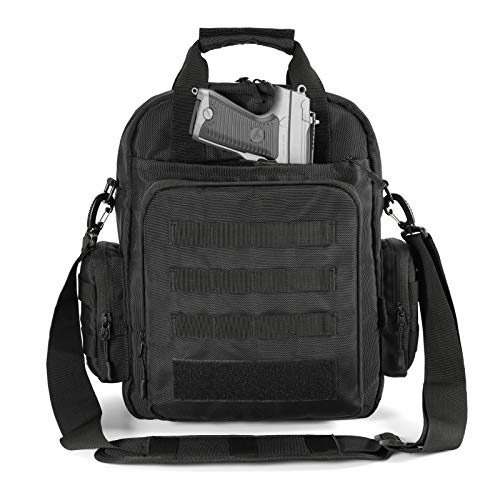 Tactical Molle Bag with Pistol Holster - LarKoo Briefcase Military Laptop Messenger Bag Casual Travel Working Tools Shoulder Bag Handbag for Hunting, Trekking and Camping