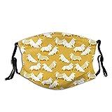 Cara de tela unisex Ma-sk Origami Collie Friends Goldenrod fondo amarillo papel blanco cara de perros co-ver con bucle ajustable bandanas lavables boca cubierta para al aire libre, deportes, compras
