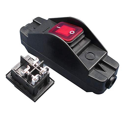 Didad 30A 12V JR-617 Interruptor Medio de LíNea Impermeable Interruptor de LíNea LíNea Plana y Redonda Contacto de Plata Interruptor una Prueba de Polvo de Doble Corte