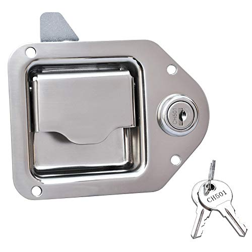 "Stainless Truck Tool Box Latch Paddle Lock Replacement Handle 4-3/8""x 3-1/4"" with 2 Keys"