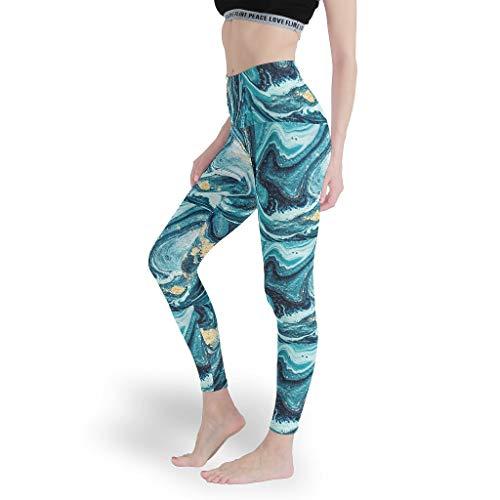 shengmengshi - Leggings Leggeri da Donna, Diversi Motivi, per Yoga, Pilates, Palestra, Bianco, M