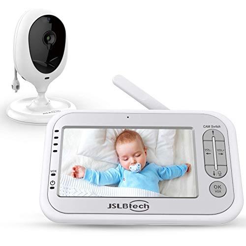 JSLBtech Baby Monitor Videocamera con Schermo LCD da 4,3', Funzione Interfono, Visione Notturna Automatica, Monitoraggio della Temperatura, Risparmio Energetico/Vox, Supporto multi Camera