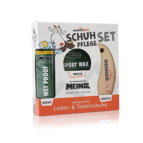 Meindl Leder MegaPack Sportwax + Imprägnierer + Lederbürste, Lederpflege Schuhpflege für alle Lederschuhe