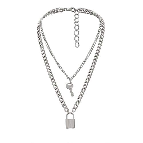 Lock Key Pendant Necklace Statement Simple Rock Punk Hip Hop Multilayer Chain Necklace for Women...