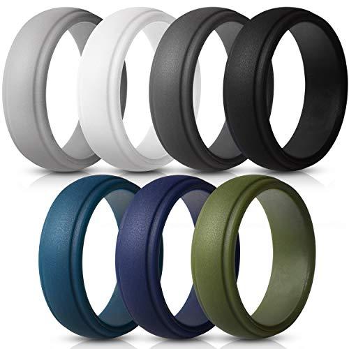 Saco Band Silicone Rings Men - 7 Pack / 1 Ring Rubber Wedding Bands (Dark Blue, Olive Green, White, Grey, Dark Grey, Black, Dark Teal, 9.5-10 (19.8mm))