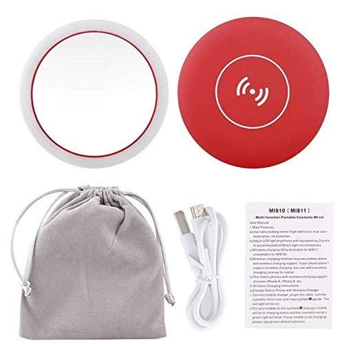 Detazhi Portable LED Lighted Mini Circulaire Miroir de Maquillage, USB Compact sans Fil de Charge Miroir cosmétique, for Bureau Dortoir Voyage, Rouge