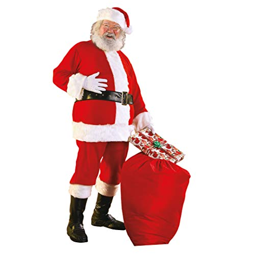 Rubie's Men's Flannel Santa Suit with Beard and Wig, Red/White, Standard