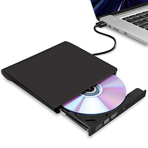 External CD/DVD Drive for Laptop, USB 3.0 Ultra-Slim Portable Burner Writer Compatible with Mac MacBook Pro/Air iMac Desktop Windows 7/8/10/XP/Vista (Black)