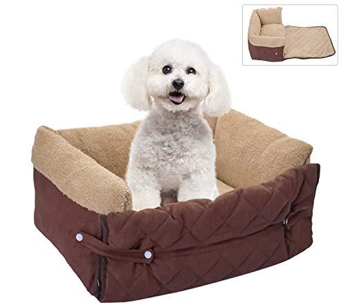 laamei Hundebett, Haustierbett für Katzen und Hunde Pecute Hundebett Erweiterbar, Rechteck Ultra Weicher Plüsch luxuriöse Haustier- Maschine Waschbar 56/70 cm (Kaffee /56cm)