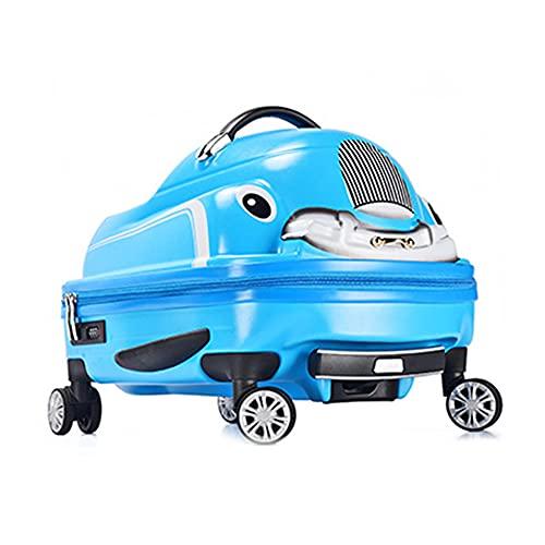 N / B Equipaje para niños, Twisted Car Trolley Funda, Pull Ride Silent Wheel Safe Pedal Pedals Fuerte Carga de Carga Viajes Tocados Juguetes Niños Chicas 20 Pulgadas, Azul