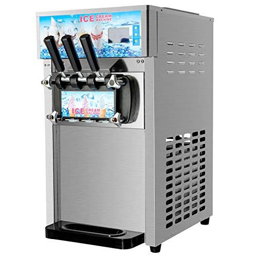 Z ZELUS 1200 W Máquina de Helado Suave Comercial 18L / H Heladoras para Hacer Helados 2 + 1 Sabores Acero Inoxidable 304 Pantalla LED Soft Ice Cream Machine para Restaurantes Snack Bar
