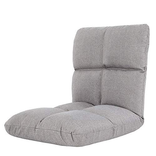 Armchair Faltbarer gepolsterter Bodenstuhl 5-Fach verstellbar Multifunktionaler Computer-Stuhl Schwammfüllung Abnehmbarer Stoffbezug Wohnzimmerliege Geeignet für Schlafsäle,Grau