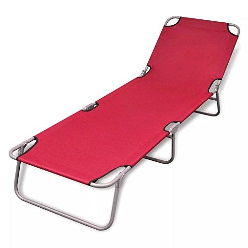 mewmewcat Sonnenliege Klappbar Liegestuhl Gartenliege mit Verstellbar Rückenlehne Relaxliege max. 120 kg Stahlrohrrahmen 189 x 58 x 27 cm Rot