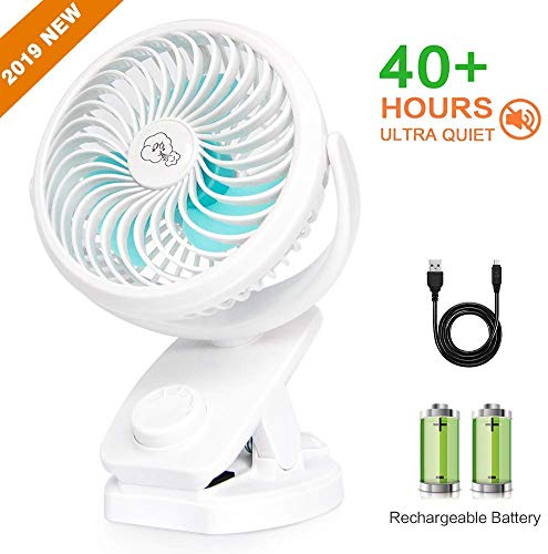 JoySusie Personal Fan Stroller Fan Clip On Desk Fan Rechargeable Battery Operated USB Portable Fan for Baby Stroller, Office, Home, Travel, Car, Camping (White, 4400mAh)