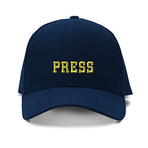 Speedy Pros Baseball Cap Gold Press News Embroidery Acrylic Dad Hats for Men & Women Strap Closure Navy 1 Size