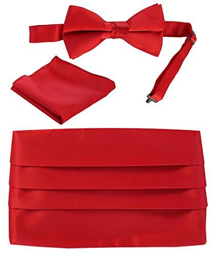 Gioberti Men's Adjustable Satin Cummerbund Set With Formal Bow Tie and Pocket Square, Red