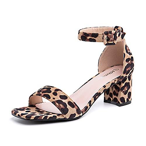 Sandalias Mujer Tacon Verano Correa de Tobillo Zapatos Cierre de Hebilla Punta Abierta Elegantes Moda Boda Negro Blanco Marrón Leopardo Rosa Talla 36-43 EU