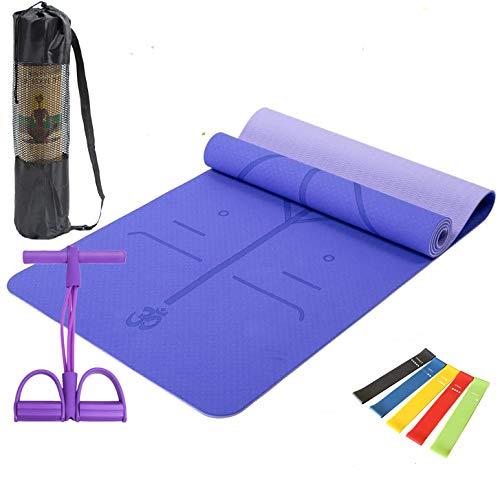 Amrta Yogamatte rutschfest Dicke Gymnastikmatte Gepolstert für Fitness Pilates Gymnastik mit Tasche Pedal Resistance Band Widerstandsbänder Yoga Fitnessband 5er (Violett)