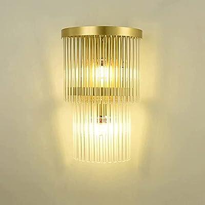 Diseño: lámpara de pared creativa, cuerpo aerodinámico de la lámpara, cuerpo de la lámpara de cristal, por lo que el efecto de iluminación de toda la habitación es muy uniforme, lo que puede traer una atmósfera romántica a la habitación. Alta calidad...