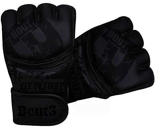 BOUT3® MMA Handschuhe, Kickboxen, Muay Thai | Boxhandschuhe männer, Frauen | MMA Sandsack Boxsack Boxen Sparring Training | Kampfsport, UFC–Punchinghandschuhe, Coachinghandschuhe (Schwarz, L)