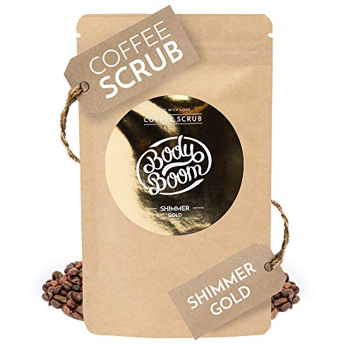 BodyBoom Shimmer Gold Organic Body Coffee Scrub | 100 g | Reduces Cellulite & Smoothes | Natural Ingredients | Vegan Cosmetic Manufactured in Europe