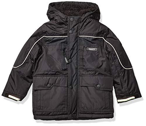 London Fog Boys' Warm Winter Coat Parka with Cozy Trimmed Hood ,Black no Trim, 5/6