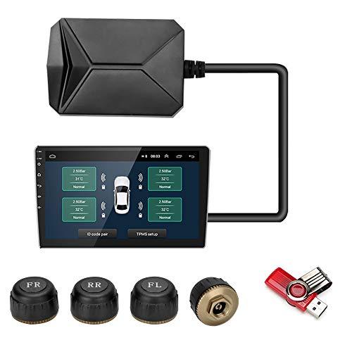 Jansite USB TPMS Reifendruckkontrollsystem, Reifendruck-Alarmsystem für das Auto Android Navigation Player mit 4 Wasserdichten externen Sensoren