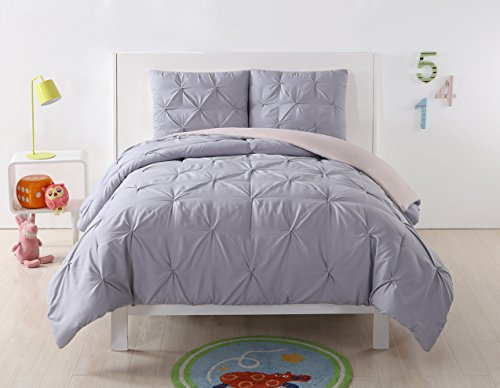 My World CS2013LBTX-1500 LHK-COMFORTERSET Pleated Reversible Twin XL Comforter Set, Lavender/Blush,Twin/Twin
