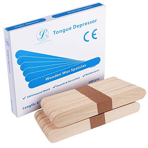 Holzspatel,LUOLLOVE® 100 Stück Holzspatel Groß Basteln Mundspatel Breit zum Auftragen von Wachs und Zuckerpaste Haarentfernung,15 x 1,8 cm