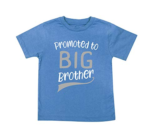Promoted to Big Brother T-Shirt T Shirt for Soon to be Older Sibling Toddler Boys Tee Blue (5T)