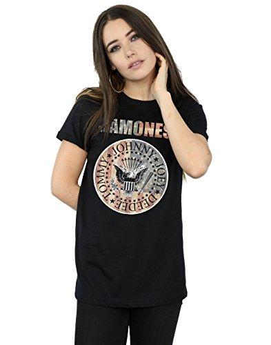 Ramones Mujer Flag Seal Camiseta del Novio Fit Small Negro