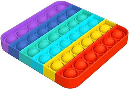 Lseeka - Giocattolo antistress Push Pop Bubble Sensory Fidget, giocattolo da schiacciare, dall'effetto rilassante e antistress, di colore arcobaleno, da 12 x 12 cm