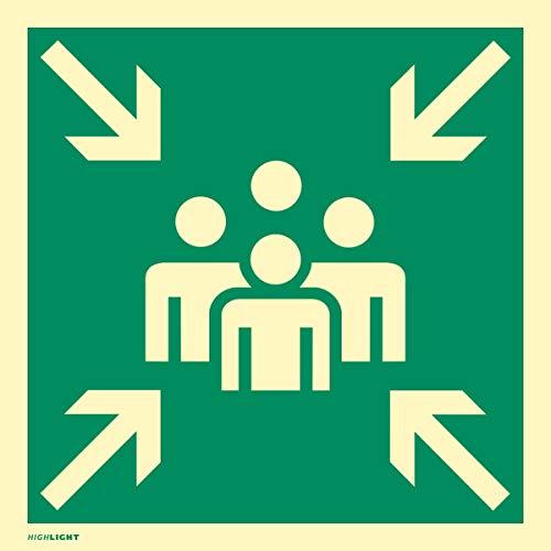 Schild Sammelstelle | Alu 40 x 40 cm | langnachleuchtend | gemäß ASR A1.3 und BGV A8 | Fluchtweg Sammelpunkt Sammelplatz