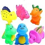 HUAERYOUYUE Bathtub Toys Dinosaur Baby Bath Toys Christmas Kids Fun Squirt Toys Floating Bathroom Toys Assorted Colors 6PCS