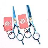 SXFXZ 5.5/6.0 Pulgadas de Gama Alta Tijeras de peluquería Profesional Conjunto Oro/Negro/Multicolor/Azul/púrpura del Peluquero del Peluquero Adelgazamiento de cizalla de Acero 440C,Azul,6.0inch