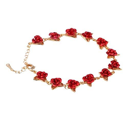 WUCHENG Pulsera romántica de la Cadena de Enlace de Color de Oro Rosa de 22 cm con el Amante del Esmalte Rojo del día de San Valentín Regalo Pulseras Mujer (Color : C)