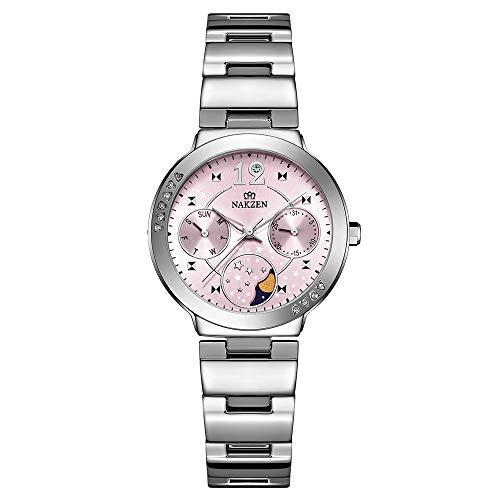 Damen-Quarzuhr, Edelstahlarmband, Doppelkalender multifunktionale Diamant-verkrustete Uhr, wasserdichte Uhr für Reise-Party-Büro 32mm Silber-Pulver