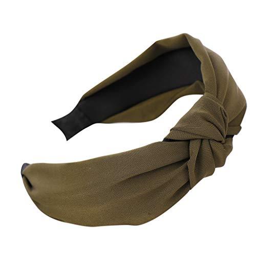 YWLINK Damen Mode Haar Kopfband Mode-Knoten-Haarband Einfache SüßE MäDchen Einfach Volltonfarbe Elegant Sport Breit Haar-Stirnband(Armeegrün,)