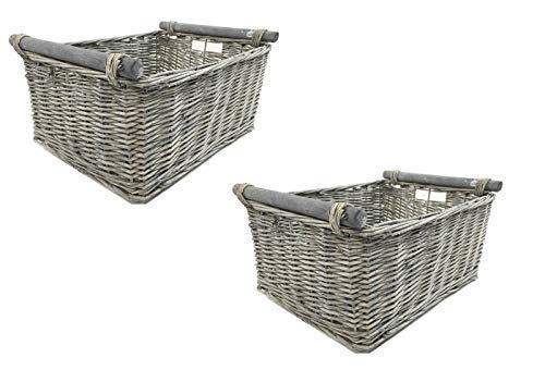 topfurnishing KITCHEN LOG FIREPLACE WICKER STORAGE BASKET WITH HANDLES XMAS EMPTY HAMPER BASKET [Grey,Set of 2 Small 31x25x16cm]