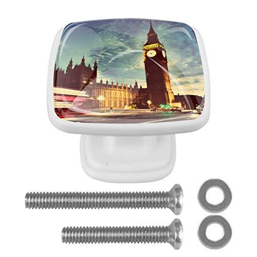Perilla de cajón de 4 piezas Reloj Big Ben de Londres Tiradores cuadrados de cristal coloridos del cajón del gabinete para la decoración de Ministerio del Interior 3x2.1x2 cm