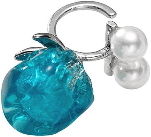 Dongua Clip Earrings, Personalized Earring, Flower Ear Clips, Geometric Earring, No Pierced Clip On Earrings, Imitation Pearl Ear Cuff(Blue)
