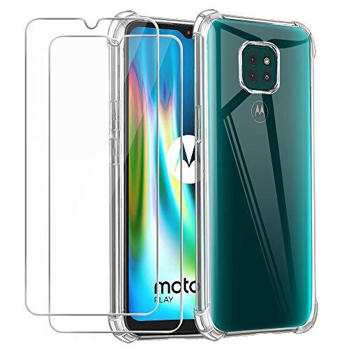 Hülle kompatibel mit Motorola Moto G9 Play, Weich Transparent TPU Silikon Anti-Fall Handyhülle Schutzhülle mit Zwei Gehärtetes Glas Schutzfolie Bildschirmschutzfolie für Motorola Moto G9 Play (6,5 Zoll)