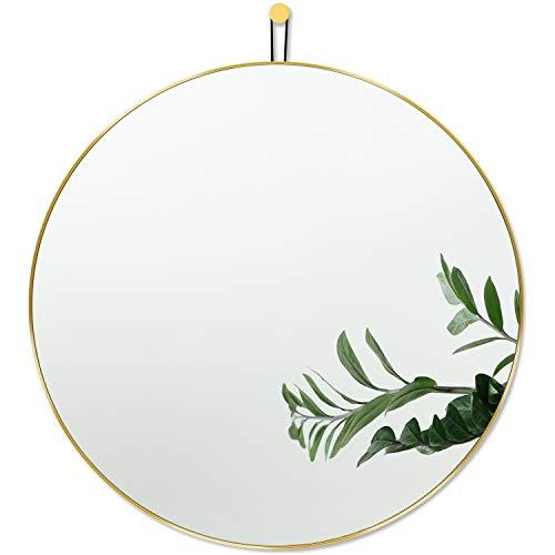 Harmati Espejo redondo con marco de metal dorado, 50 x 50 cm, espejo de pared decorativo para pasillo, salón, dormitorio, cuarto de baño y para colgar, diseño moderno