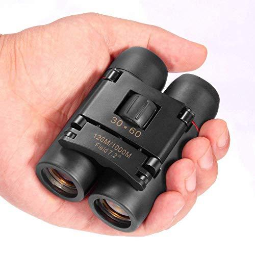 30 x 60 binoculares, Mini binoculares Plegables portátiles compactos para niños y Adultos, observación de Aves a Prueba de Agua, montañismo, Caza al Aire Libre, observación de espectáculos