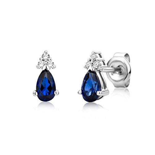 Miore Schmuck Damen 0.04 Ct Diamant Ohrringe mit Edelstein/Geburtsstein blauer Saphir und Diamanten Brillanten Ohrstecker aus Weißgold 9 Karat / 375 Gold