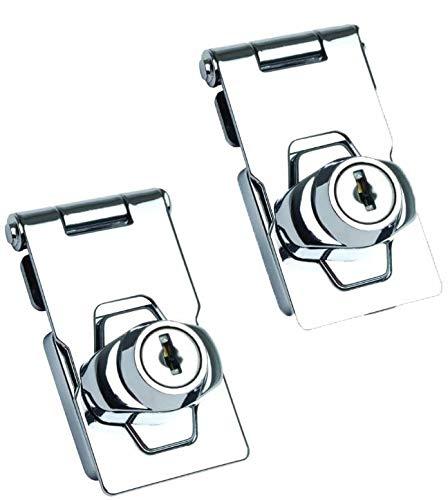 LOKIH Pack of 2 Lockable with Lock 63mm Lock Device Security Hasp for Doors Front Door Garage Door Wooden Box Windows Cabinets