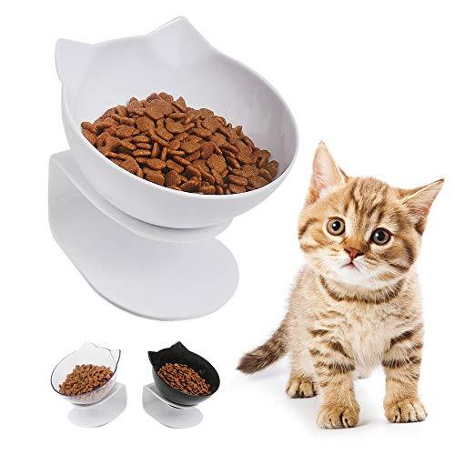 SKRTUAN Futternäpfe Katzenfutter,Futternäpfe Katzenfutter,Futternapf rutschfeste Futternapf Katze Katzennäpfe,für Katze Welpe Futter und Wasser(Weiß)