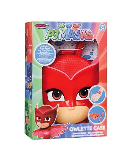Jamara 410107 Koffer PJ Masks Owlette-3-Teiliges Spieleset, Owlette-Armband für echte Pyjamahelden, Bösewichte durch das Fernglas ausspionieren, Stabiler und handlicher Tragekoffer, rot